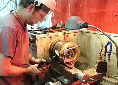 Russell at Lathe